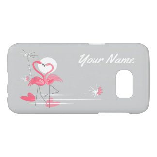 Flamingo Love Side Name Samsung Galaxy S7 case