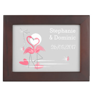 Flamingo Love Side Names Dates keepsake box