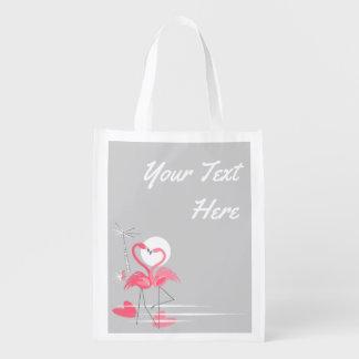Flamingo Love Side Tesxt reusable bag