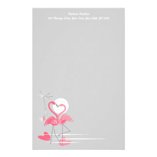 Flamingo Love Side Text stationery