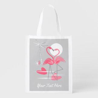 Flamingo Love Text reusable bag
