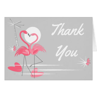 Flamingo Love Thank You text grey note card