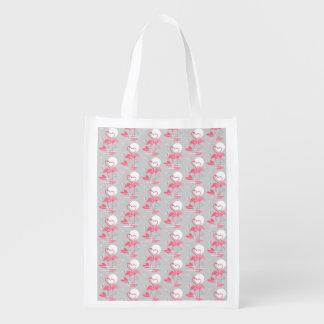 Flamingo Love Tiled reusable bag