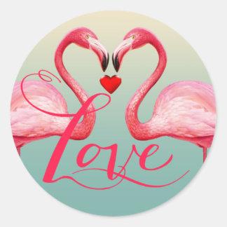 Flamingo Love Wedding Favor   mint blue Round Sticker