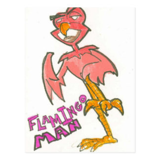 Flamingo Man Postcard