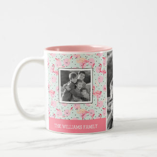 Flamingo On Polka Dots | Family Photos With Text Two-Tone Coffee Mug