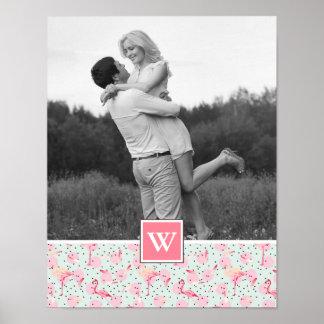 Flamingo On Polka Dots   Photo With Monogram Poster