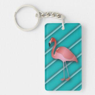 Flamingo On Turquoise Stripes Personalized Key Ring