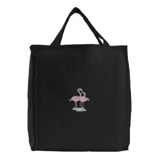 Flamingo Pair Embroidered Bags