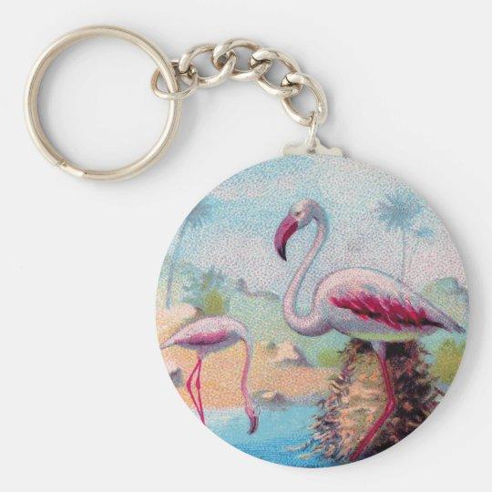 flamingo pair vintage basic round button key ring