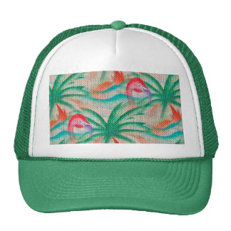 Flamingo Palm Tree Burlap Image Trucker Hat