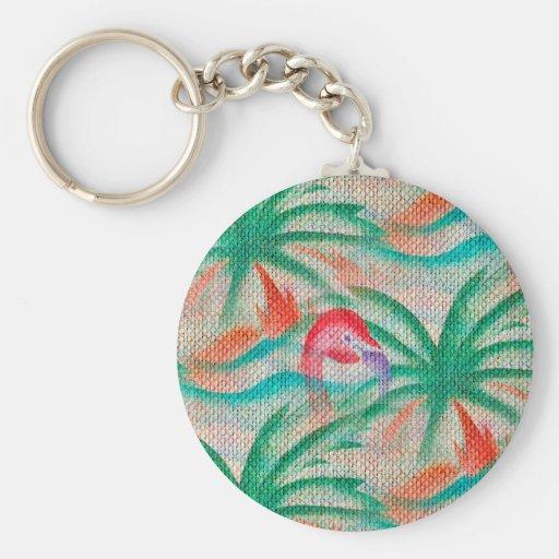 Flamingo Palm Tree Burlap Image Keychains