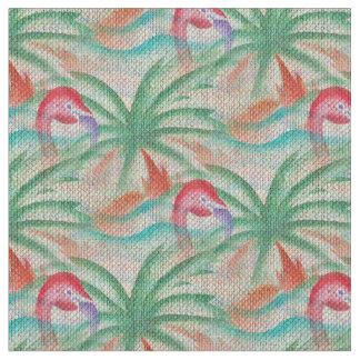 Flamingo Palm Tree Burlap Look Fabric