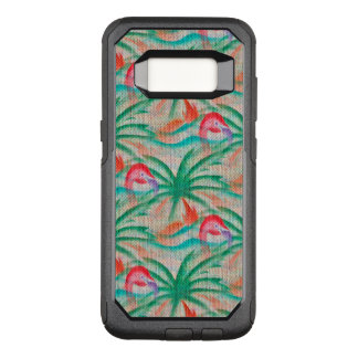 Flamingo Palm Tree Burlap Look OtterBox Commuter Samsung Galaxy S8 Case