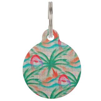 Flamingo Palm Tree Burlap Look Pet Name Tag