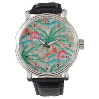 Flamingo Palm Tree Burlap Look Watch