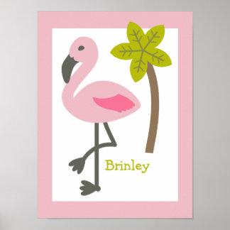 Flamingo + Palm Tree Personalized Nursery Artwork Poster