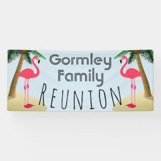 Flamingo Palm Tree Tropical Family Reunion Banner