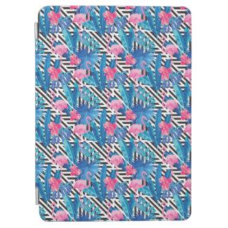 Flamingo & Palms on Geometric Pattern