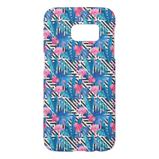 Flamingo & Palms on Geometric Pattern