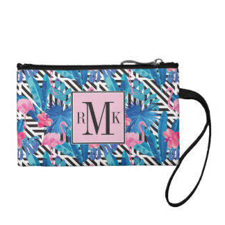 Flamingo & Palms on Geometric Pattern Coin Purse