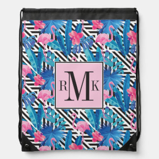 Flamingo & Palms on Geometric Pattern Drawstring Bag