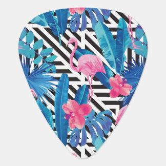 Flamingo & Palms on Geometric Pattern Guitar Pick
