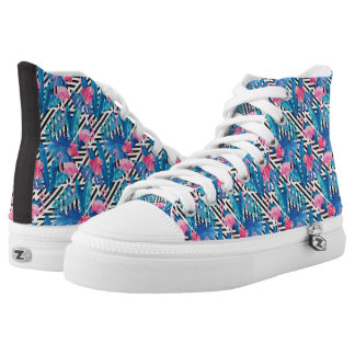 Flamingo & Palms on Geometric Pattern High Tops