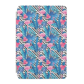 Flamingo & Palms on Geometric Pattern iPad Mini Cover