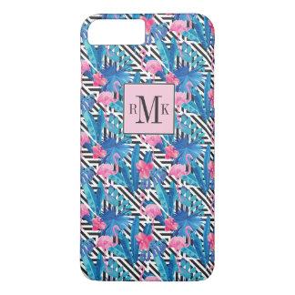 Flamingo & Palms on Geometric Pattern iPhone 8 Plus/7 Plus Case