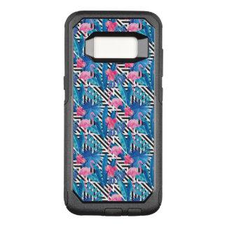 Flamingo & Palms on Geometric Pattern OtterBox Commuter Samsung Galaxy S8 Case