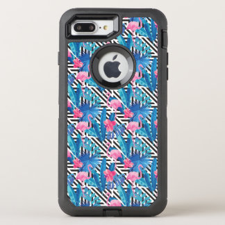 Flamingo & Palms on Geometric Pattern OtterBox Defender iPhone 8 Plus/7 Plus Case