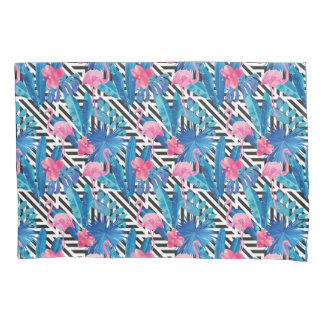 Flamingo & Palms on Geometric Pattern Pillowcase