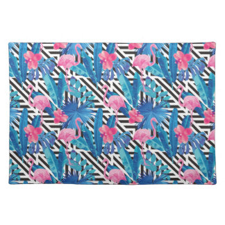 Flamingo & Palms on Geometric Pattern Placemat