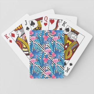 Flamingo & Palms on Geometric Pattern Playing Cards