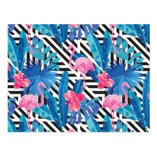 Flamingo & Palms on Geometric Pattern Postcard
