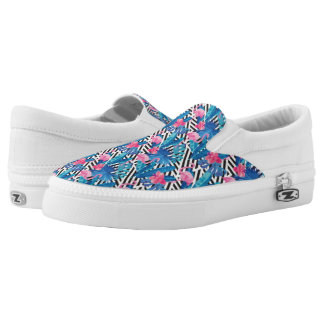 Flamingo & Palms on Geometric Pattern Slip-On Shoes