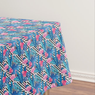 Flamingo & Palms on Geometric Pattern Tablecloth
