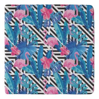 Flamingo & Palms on Geometric Pattern Trivet
