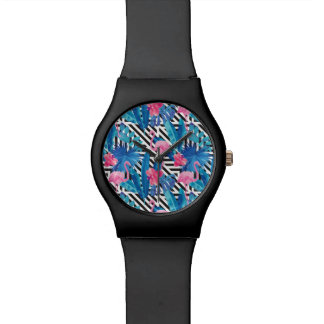 Flamingo & Palms on Geometric Pattern Watch