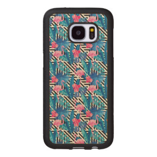 Flamingo & Palms on Geometric Pattern Wood Samsung Galaxy S7 Case