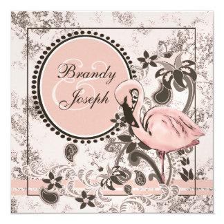 "Flamingo Paradise 5.25"" Square Invitation Card"