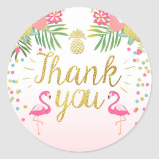 Flamingo Party Favor Tags Tropical Thank You Card Round Sticker