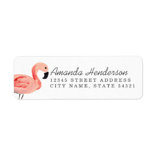 Flamingo Party Return Address Label