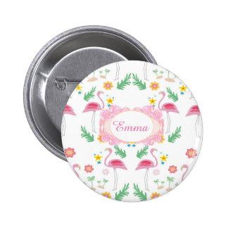 flamingo pattern 6 cm round badge