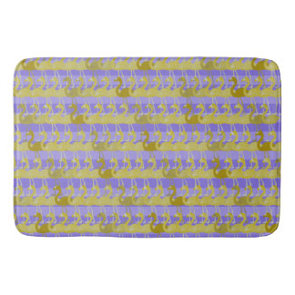 Flamingo Pattern Bath Mat (Gold on Purple)