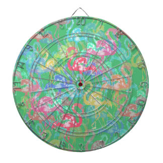 Flamingo pattern dartboard
