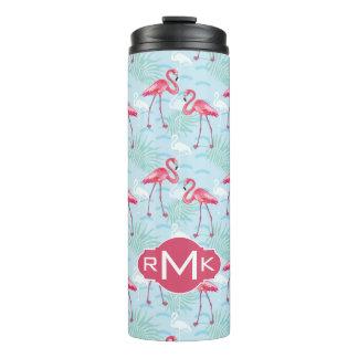 Flamingo Pattern | Monogram Thermal Tumbler