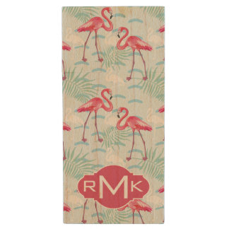 Flamingo Pattern | Monogram Wood USB 2.0 Flash Drive