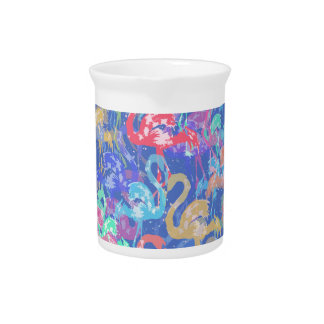 Flamingo pattern pitcher